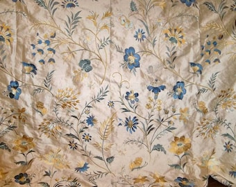 LEE JOFA GUINEVERE Embroidered Silk Fabric 10 yards Cream Multi