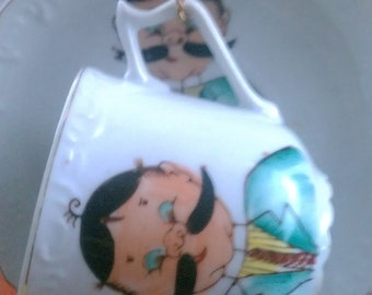 Vintage Mustache Cup and Saucer with Holder