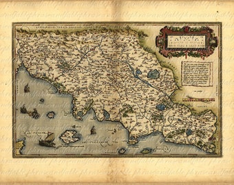 Map Of Tuscany From The 1500s 109 Map Vintage Digital Antique Italy Arezzo Firenze Grosseto Europe Gold