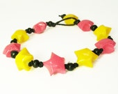 Lucky Star Origami Bracelet Pink and Yellow - Adjustable - OSB8