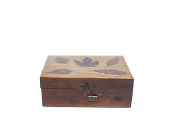 Rustic jewelry box Vintage rustic keepsake box Handmade wooden box Fall decor Falling leaves box Small wood box