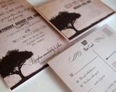 Tree wedding invitations Sample - Rustic wedding invitations sunset tree - {Midland design}