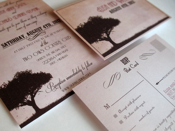 Tree wedding invitations Sample - Rustic wedding invitations sunset tree - {Midland design}