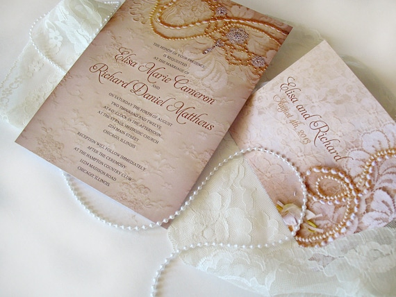 Wedding Invitations Lace And Pearl: Wedding Invitation Sample Lace By DesignedWithAmore On Etsy