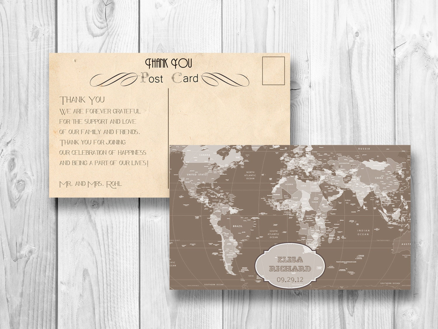 Retro Thank You Postcard World Map Wedding Thank You Card