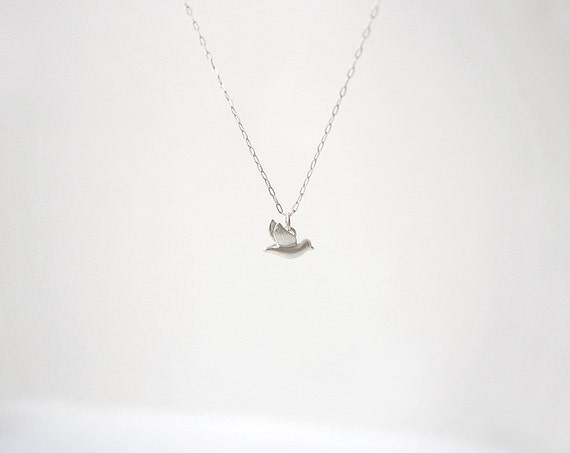 Birds Of A Feather Necklace - Tiny Bird Charm & Sterling Silver Chain