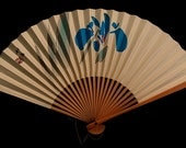 Iris Japanese Vintage Paper and Bamboo Fan