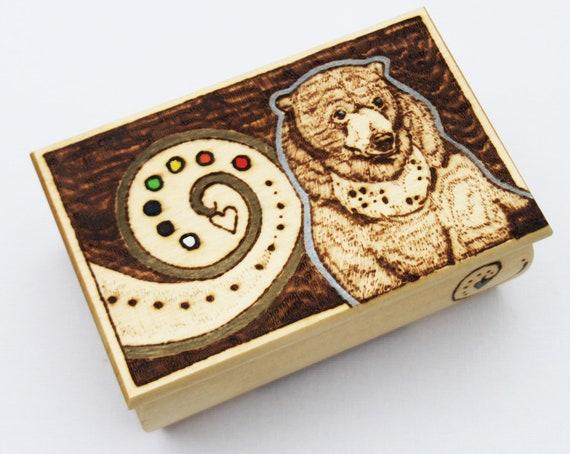 Pyrography Sun Bear Wooden Box - Trinket Box