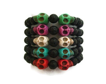 Halloween Skull and Lava Bead Bracelet