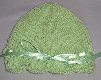 Handmade super soft knit baby hat with ribbon bow