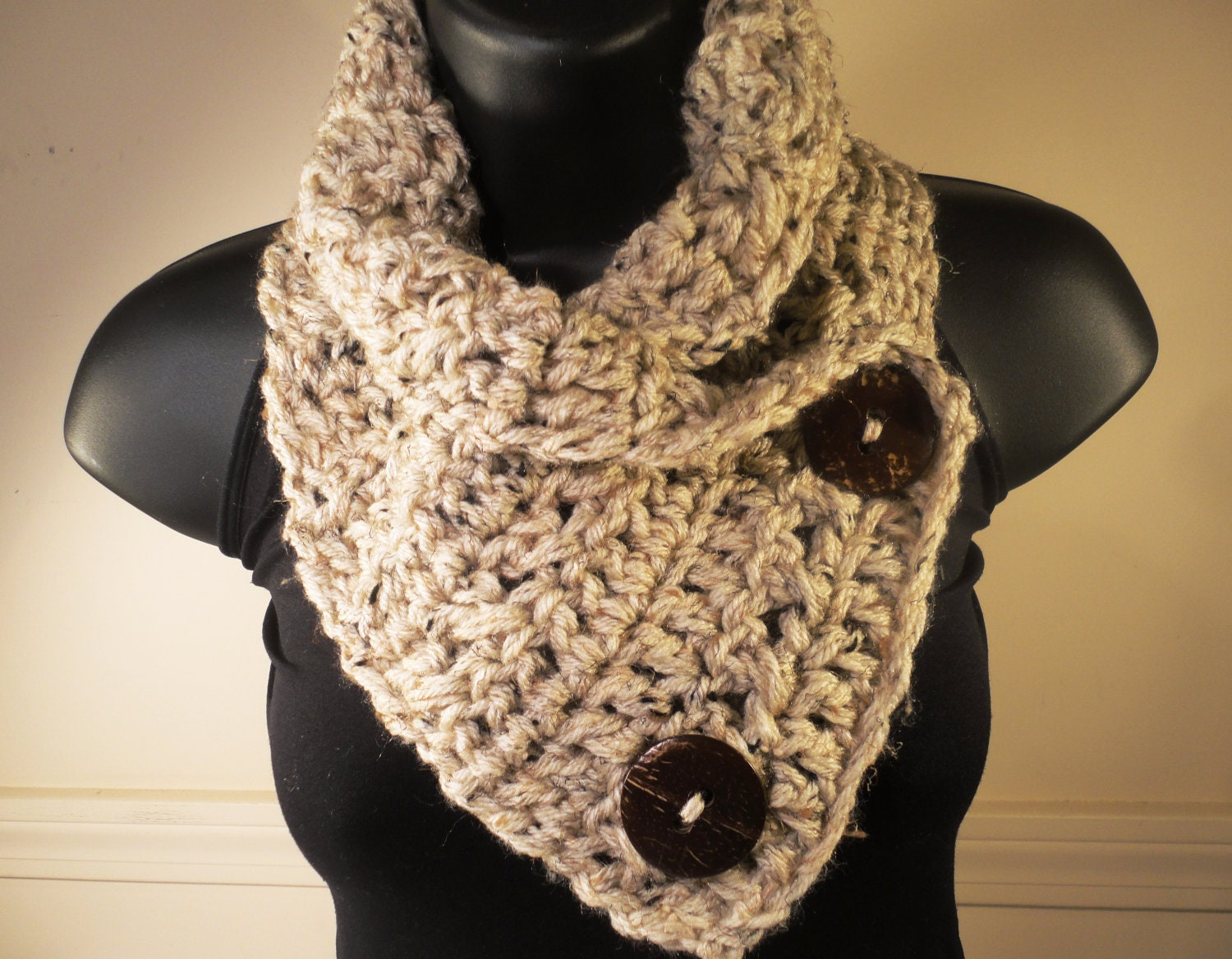 Crocheting Scarf : Crochet Scarf Crochet Cowl Crochet Button by VillaYarnDesigns
