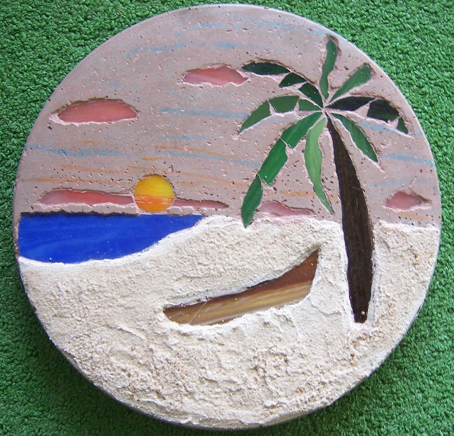 Mosaic Garden Stones: Items Similar To Stained Glass Mosaic Garden Stepping