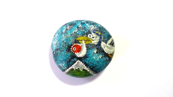 Stork brings a Zirious baby / Zirious Collection hand painted stone by Circle and the dot