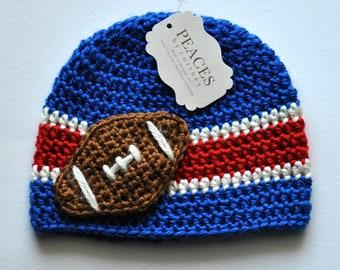 Football Beanie - Royal Blue, Red & White Baby Football Hat ( newborn gift preemie hat newborn costume babyshower newborn beanie baby hats )