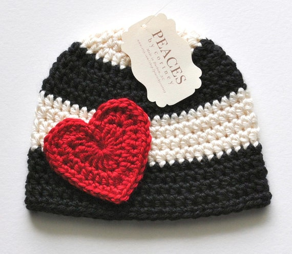 Baby Hats Red Heart Black Amp White Baby Beanie Hat Baby