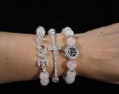 Arm Candy LOVE charm Quartz Beaded  Bracelets set