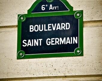 Boulevard Saint Germain,Fine Art Photography,Paris,France,multiple sizes available-parisian,street sign, signage,blue, green, building