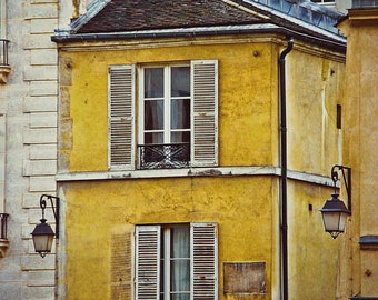 Yellow Parisian Building-Fine Art Photography,Paris,France,multiple sizes available,architecture, yellow,travel,shutters