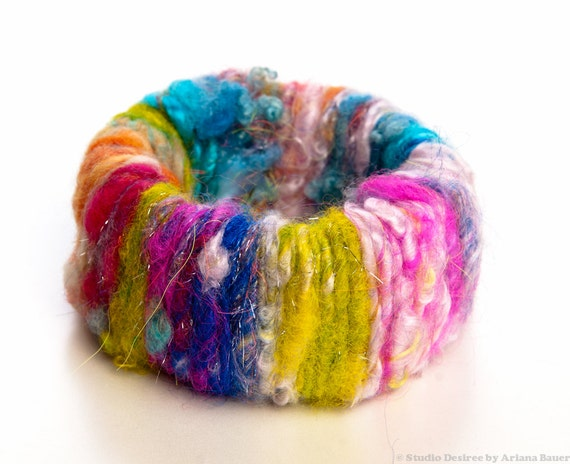 SALE Bangle Bracelet Wide Cuff Wrapped with Handspun Yarn in Rainbow Colors OOAK Free Shipping