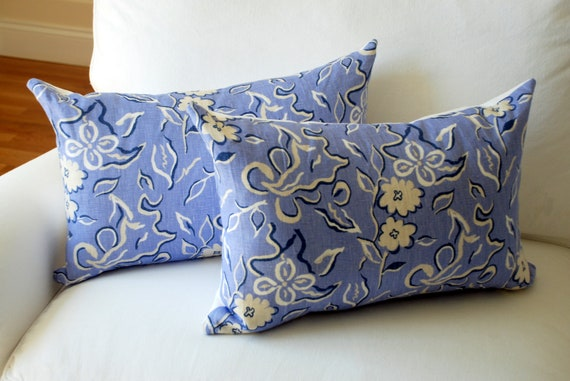 """Victoria Hagan - Waterflower in Sky - Decorative Pillow Cover 16"""" x 24"""" - Floral, Blue and White, Beachy, Coastal Colors"""