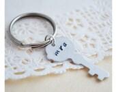 Key Keychain - Initials Keyring - Custom Keychain - Hand Stamped - Aluminum