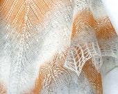Hand knit shawl, wool shawl - honey , grey, orange