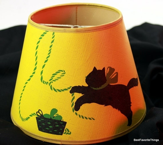 Reserved for Laura Vintage Yellow and Black Kitty Cat Lamp Shade