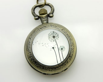 Necklace Pocket watch three Dandelions