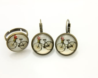 SET earrings and ring bike