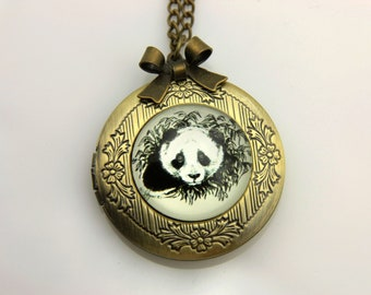Necklace locket panda