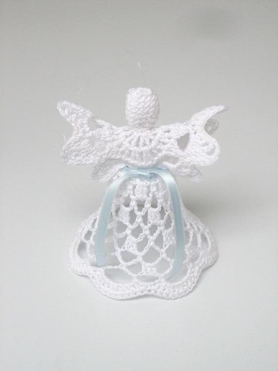 White crochet angel. Angel decoration. Christmas angel decor. Christening Wedding decor. Angel ornament. Christmas bell