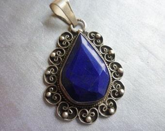 Lapis Lazuli Teardrop Moroccan silver decorated pendant