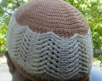 Herringbone, is the name of this 100% cotton kufi style beanie.