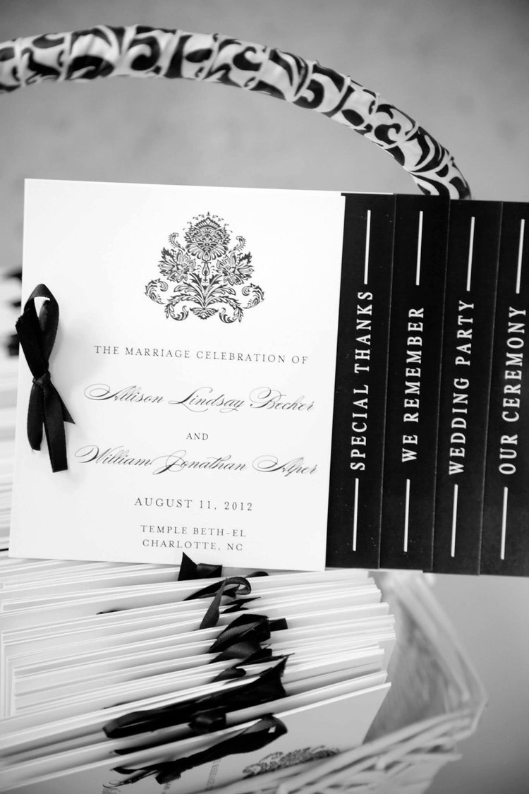 Black and White Wedding Programs Black White by WhimsyBDesigns