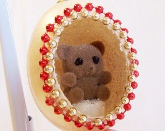Vintage Christmas Ornament: Teddy Bear in an Egg - S1027