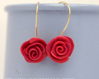 Sale 30% off: Red Roses set of dangly earrings