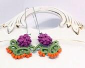 Purple, orange and green rococo inspired dangle earrings - Crochet kidney earrings