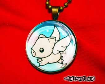 "Flying Pig 1"" Pendant Necklace - or 2 for 20 - Happy Vegan Veg - ReLove Plan.et"