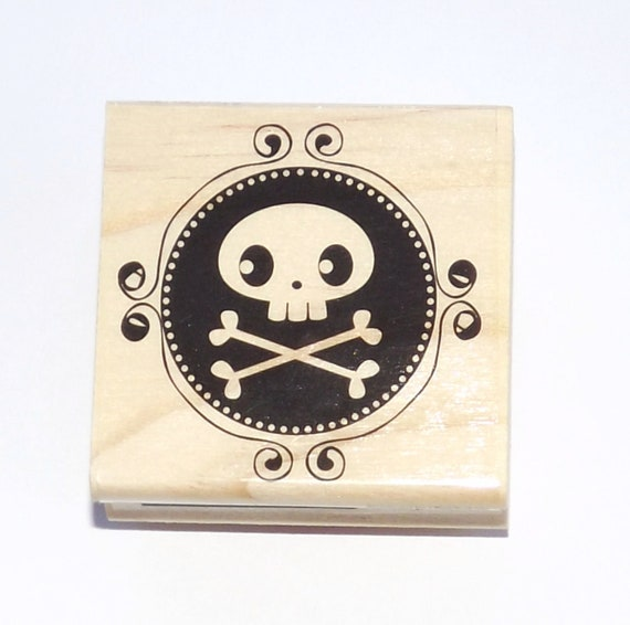 Skeleton Skull and Bones Halloween Wood Mounted Rubber Stamp