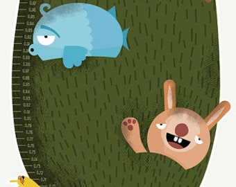 Animals tree Growth Chart (CM) – Measure your kids' height as they grow with this cute Centimeters Height Chart Vinyl sticker for Kids Room