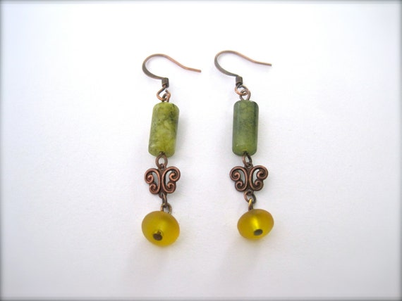 rustic copper. dangle earrings. green jade beads. mustard yellow sea glass beads.