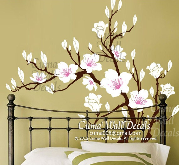 White Flower Wall Decal Cherry Blossom Vinyl Wall Decals