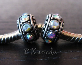 2PCs Aurora Borealis, AB Finish European Charm Beads - Crystal Spacers For European All Charm Bracelets