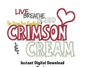 DD Live Breathe Bleed Crimson & Cream - Machine Embroidery - 2 Designs - 5x7 or Larger Hoop - Instant Download