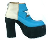 VTG 90s Blue-Red Leather Funky Disco Platform Shoes with transparent star & zipper / EU 39 - US 8.5