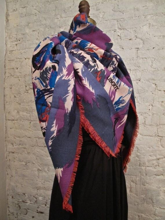 80s Liberty of London Huge Wool Scarf / Shawl