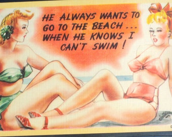 beach babe 50s postcard never used