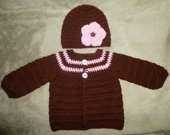 Brown and Pink Soft Sweater Set