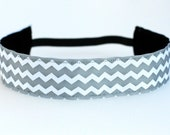 "Grey & White Chevron NonSlip Headband 1.5"", Gifts for Runner, Workout Accessory, Fitness Headband, Yoga Hairband, Gift Exchange, Under 10"