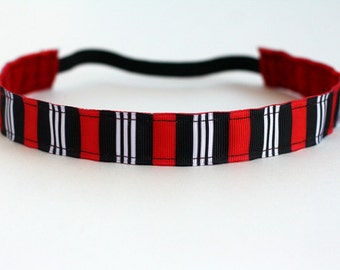 "Red, Black & White Stripe Non-Slip Headband 1"", Headband for Workout, Cheer Headband, Gifts for Runners, Fitness Headband, Exercise Headband"
